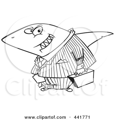 Royalty-Free (RF) Clip Art Illustration of a Cartoon Black And White Outline Design Of A Business Land Shark by toonaday