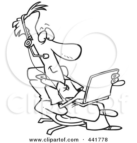 Royalty-Free (RF) Clip Art Illustration of a Cartoon Black And White Outline Design Of A Businessman Wearing A Headset And Using A Laptop by toonaday
