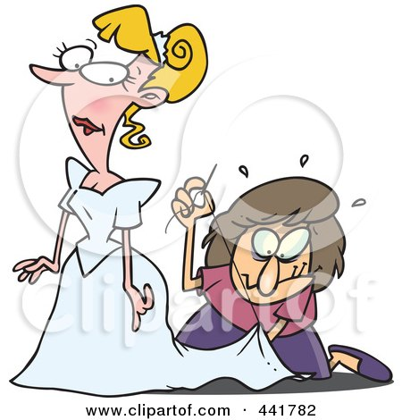 Royalty-Free (RF) Clip Art Illustration of a Cartoon Seamstress Tailoring A Bride's Dress At The Last Minute by toonaday