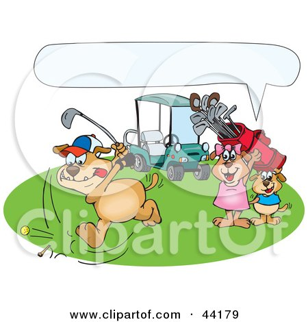 Clipart Illustration of a Boy And Girl Dog Watching Their Father Golf, With A Text Box by Dennis Holmes Designs