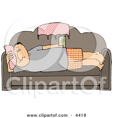 Male Couch Potato Laying On His Couch, Watching TV, and Drinking Beer Clipart by djart