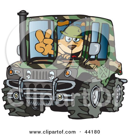 Clipart Illustration of a Sparky Dog Character Soldier Driving A Hummer by Dennis Holmes Designs