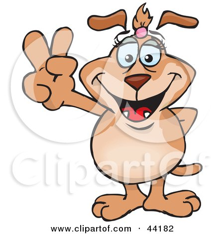 Clipart Illustration of a Sparkette Dog Character Gesturing The Peace Sign by Dennis Holmes Designs