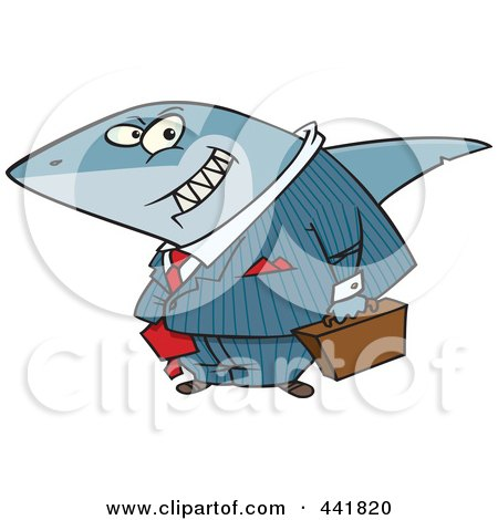 Royalty-Free (RF) Clip Art Illustration of a Cartoon Business Land Shark by toonaday