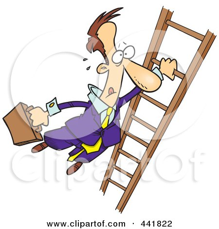 Royalty-Free (RF) Clip Art Illustration of a Cartoon Businessman Holding Onto A Ladder With One Hand by toonaday