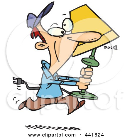Royalty-Free (RF) Clip Art Illustration of a Cartoon Man Running With A Lamp by toonaday
