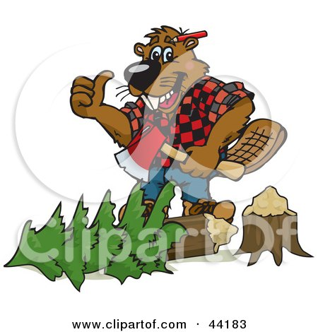 Lumberjack Beaver Holding An Axe Over A Tree Posters, Art Prints