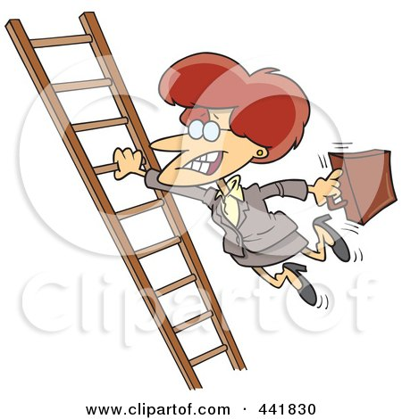 Royalty-Free (RF) Clip Art Illustration of a Cartoon Businesswoman Holding Onto A Ladder With One Hand by toonaday