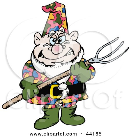 Clipart Illustration of a Chubby Garden Gnome Holding A Pitch Fork by Dennis Holmes Designs