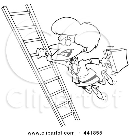 Royalty-Free (RF) Clip Art Illustration of a Cartoon Black And White Outline Design Of A Businesswoman Holding Onto A Ladder With One Hand by toonaday