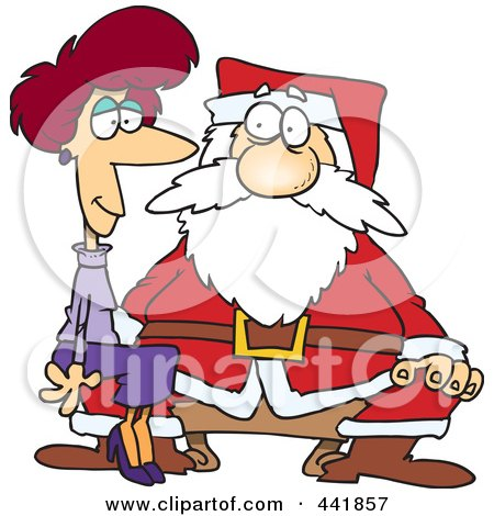 Royalty-Free (RF) Clip Art Illustration of a Cartoon Adult Woman Sitting On Santas Lap by toonaday