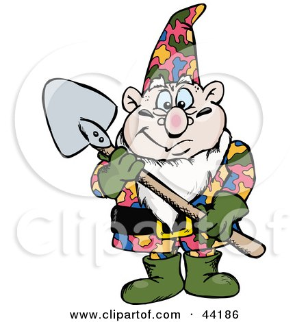 Clipart Illustration of a Chubby Garden Gnome Holding A Shovel by Dennis Holmes Designs