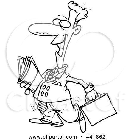 Royalty-Free (RF) Clip Art Illustration of a Cartoon Black And White Outline Design Of A Lawyer Carrying Files by toonaday