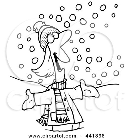 Royalty-Free (RF) Clip Art Illustration of a Cartoon Black And White Outline Design Of A Happy Woman In The Snow by toonaday
