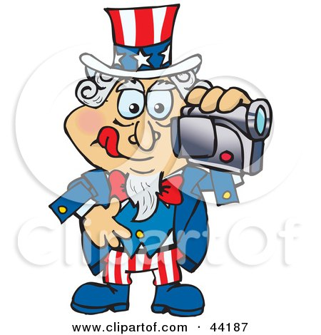 Clipart Illustration of an American Uncle Sam Making A Home Video by Dennis Holmes Designs