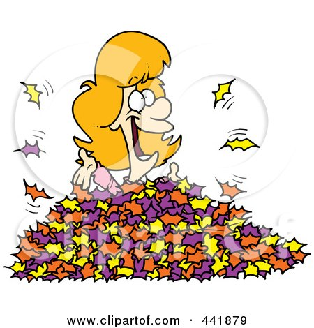 Royalty-Free (RF) Clip Art Illustration of a Cartoon Woman Playing In Leaves by toonaday