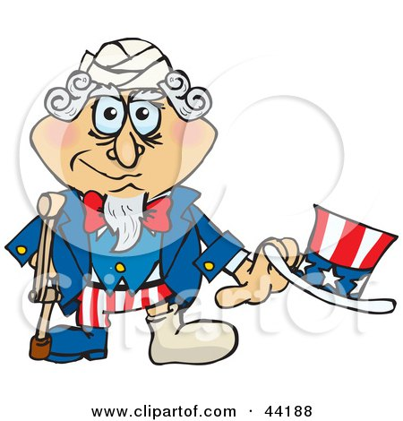 Clipart Illustration of an American Uncle Sam With A Foot In A Cast, Using A Crutch by Dennis Holmes Designs