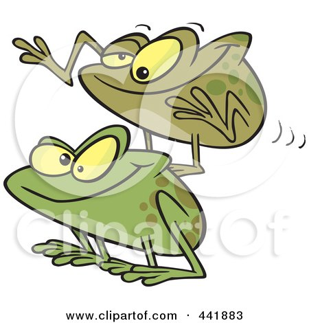 Royalty-Free (RF) Clip Art Illustration of Cartoon Frogs Playing Leap Frog by toonaday