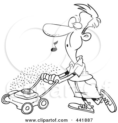 Royalty-Free (RF) Clip Art Illustration of a Cartoon Black And White Outline Design Of A Man Whistling And Mowing His Lawn by toonaday