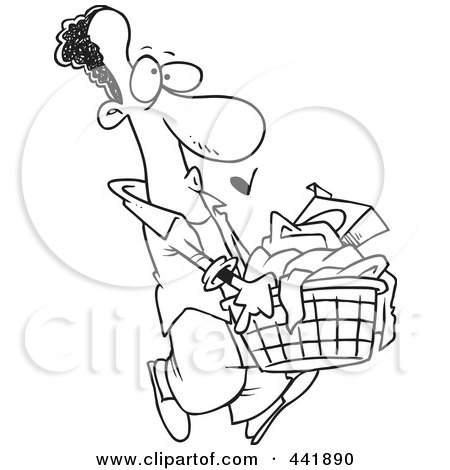 Black  White Polka  Dress on Black And White Outline Design Of A Black Man Carrying A Laundry