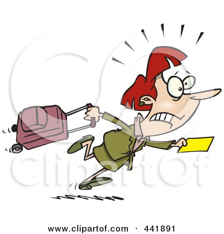Royalty-Free (RF) Clip Art Illustration of a Cartoon Late Businesswoman Trying To Get To Her Flight by toonaday