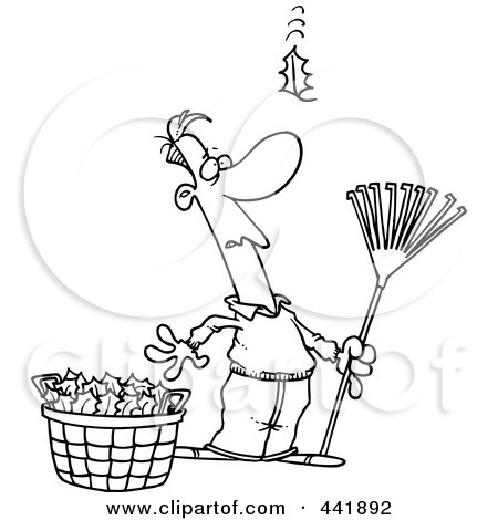 Royalty-Free (RF) Clip Art Illustration of a Cartoon Black And White Outline Design Of A Man Raking Leaves, Watching Yet Another Fall by toonaday