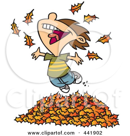 Cartoon Little Boy Playing In Leaves Posters, Art Prints