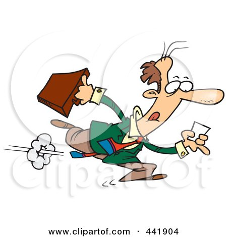 Royalty-Free (RF) Clip Art Illustration of a Cartoon Businessman Running After A Lead by toonaday