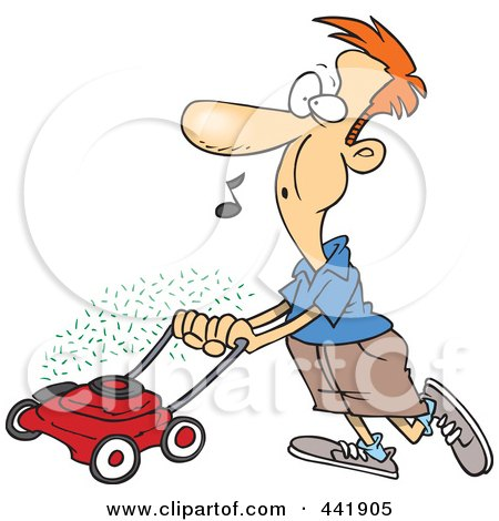 Royalty-Free (RF) Clip Art Illustration of a Cartoon Man Whistling And Mowing His Lawn by toonaday