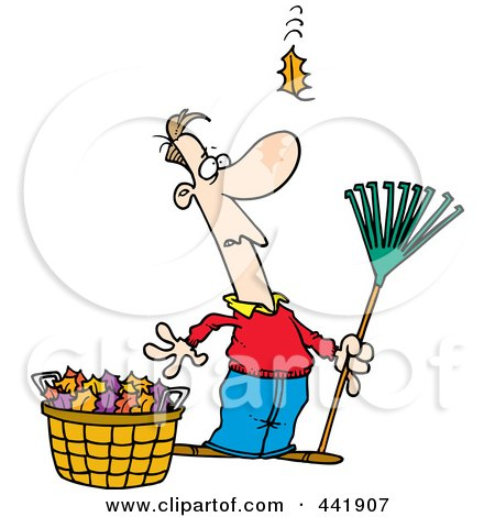 Royalty-Free (RF) Clip Art Illustration of a Cartoon Man Raking Leaves, Watching Yet Another Fall by toonaday