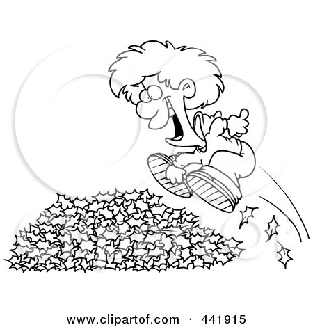 Royalty-Free (RF) Clip Art Illustration of a Cartoon Black And White Outline Design Of A Little Boy Jumping In Leaves by toonaday