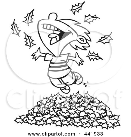 Royalty-Free (RF) Clip Art Illustration of a Cartoon Black And White Outline Design Of A Little Boy Playing In Leaves by toonaday