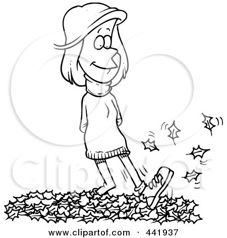 Royalty-Free (RF) Clip Art Illustration of a Cartoon Black And White Outline Design Of A Woman Walking In Leaves by toonaday