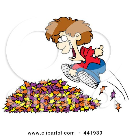 Royalty-Free (RF) Clip Art Illustration of a Cartoon Little Boy Jumping In Leaves by toonaday