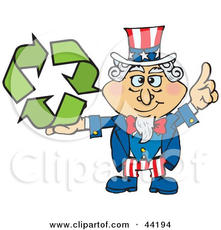 Clipart Illustration of an American Uncle Sam Holding Green Recycle Arrows by Dennis Holmes Designs