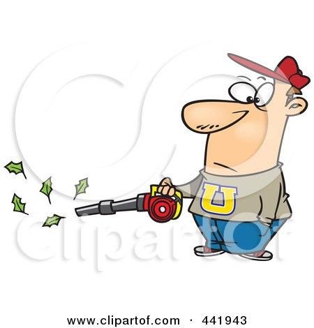 Royalty-Free (RF) Clip Art Illustration of a Cartoon Man Using A Leaf Blower by toonaday