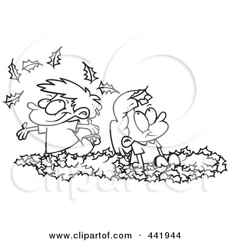 Royalty-Free (RF) Clip Art Illustration of a Cartoon Black And White Outline Design Of Kids Playing In Leaves by toonaday