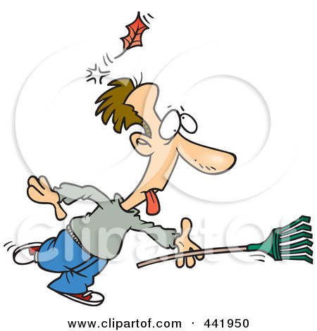 Royalty-Free (RF) Clip Art Illustration of a Cartoon Raking Man Being Knocked Out By A Falling Leaf by toonaday