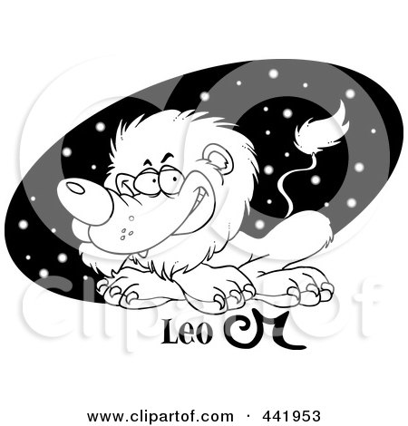 Royalty-Free (RF) Clip Art Illustration of a Cartoon Black And White Outline Design Of An Astrology Leo Lion Over A Black Starry Oval by toonaday