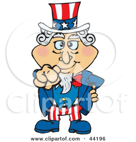 Clipart Illustration of an American Uncle Sam Pointing Out by Dennis Holmes Designs