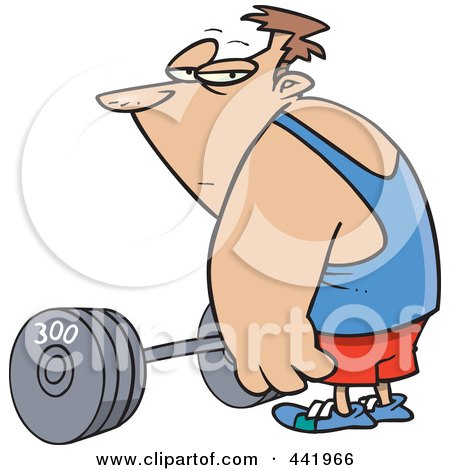 Royalty-Free (RF) Clip Art Illustration of a Cartoon Man Standing By A Barbell by toonaday