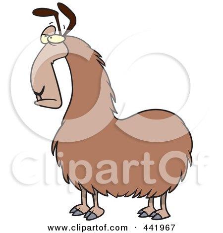 Royalty-Free (RF) Clip Art Illustration of a Cartoon Bored Llama by toonaday