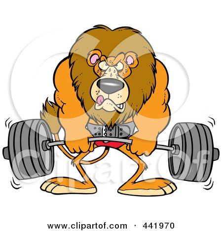 Royalty-Free (RF) Clip Art Illustration of a Cartoon Lion Weightlifting by toonaday