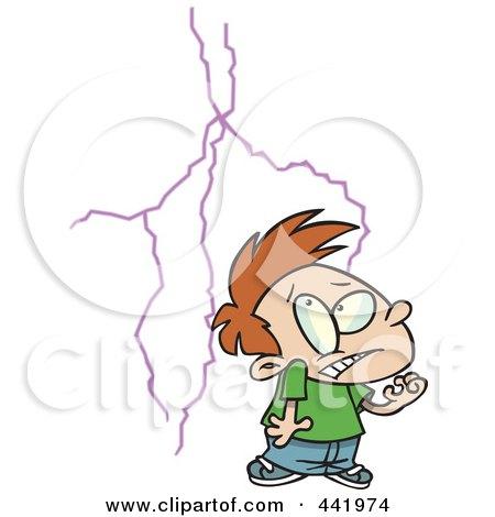 Royalty-Free (RF) Clip Art Illustration of a Cartoon Boy Afraid Of Lightning by toonaday