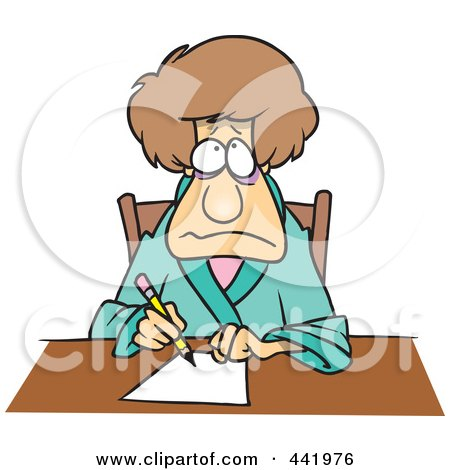 Royalty-Free (RF) Clip Art Illustration of a Cartoon Depressed Woman Writing A Letter by toonaday