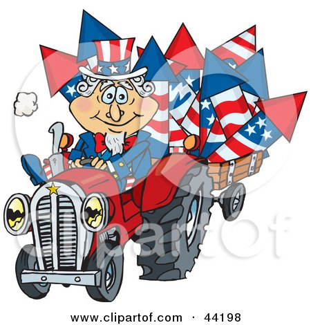 American Uncle Sam Driving A Tractor And Hauling Fireworks In A Trailer Posters, Art Prints