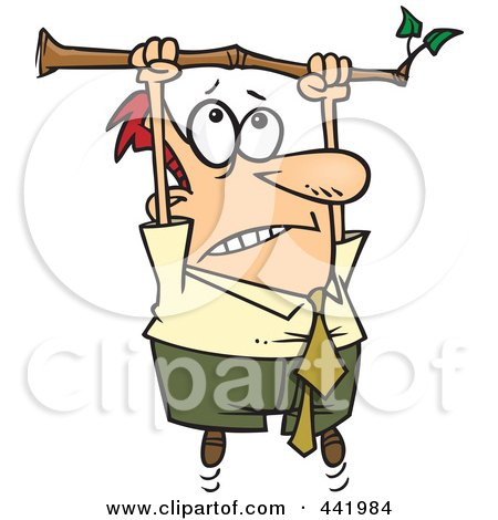 Royalty-Free (RF) Clip Art Illustration of a Cartoon Businessman Hanging From A Limb by toonaday