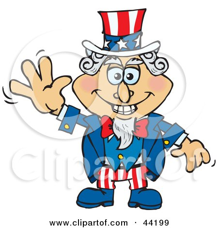 Clipart Illustration of an American Uncle Sam Smiling And Waving by Dennis Holmes Designs