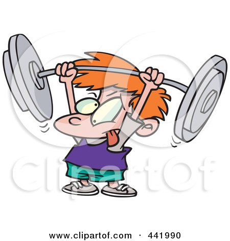 Royalty-Free (RF) Clip Art Illustration of a Cartoon Little Boy Lifting A Barbell by toonaday