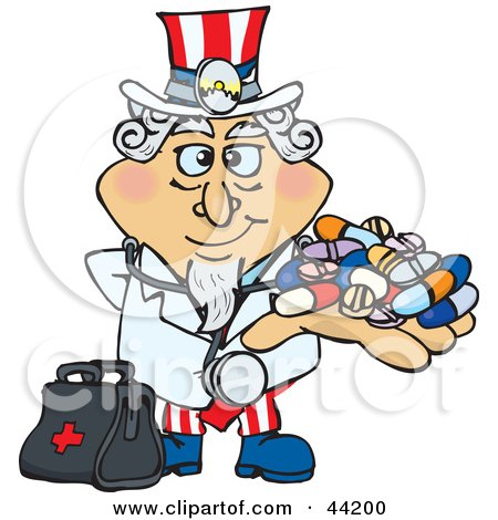 Clipart Illustration of an American Uncle Sam Pharmacist Holding A Handful Of Pills by Dennis Holmes Designs